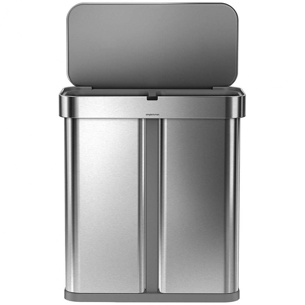 Simplehuman RECTANGULAR 58L triedený odpad - silver