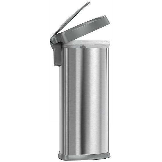 Simplehuman SEMI-ROUND 45L s plastovým vekom - silver