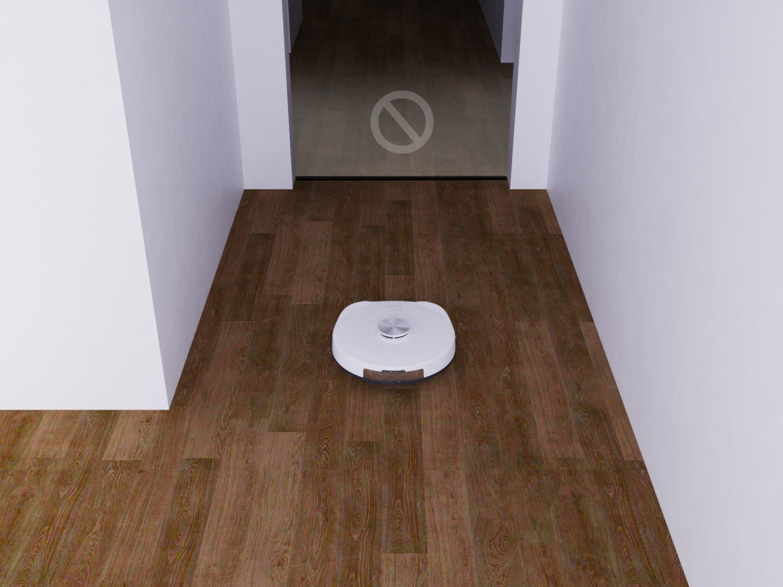 Hraničná páska a virtuálna stena na vymedzenie plochy vysávania